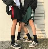 運動褲 ins五分褲男原宿bf風運動短褲男女夏季寬鬆沙灘褲學生情侶三條杠