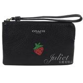 茱麗葉精品【全新現貨】COACH 26940 可愛草莓圖案零錢手拿包.黑
