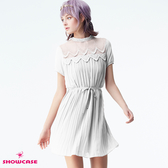 【SHOWCASE】甜美蕾絲圓領透膚紗拼接細褶短版雪紡洋裝(白)