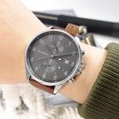 TOMMY HILFIGER / 1791710 / 簡約雙眼 休閒都會 兩地時間 日期顯示 壓紋真皮手錶 灰x銀框x棕色 44mm