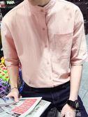 夏天短袖襯衫男寬鬆立領棉麻五分袖襯衣青少年韓版潮流亞麻上衣服 依凡卡時尚