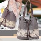 新款帆布側背包抽帶水桶包甜美可愛民族風時尚側背女包包 黛尼時尚精品