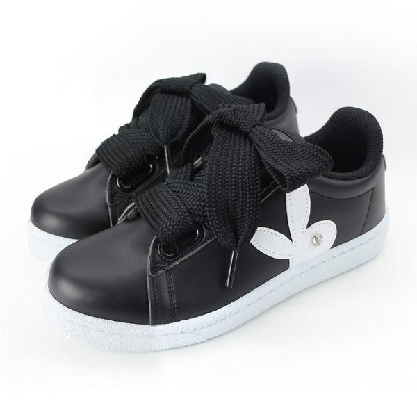 PLAYBOY微甜創作 仿皮寬版綁帶休閒鞋-黑