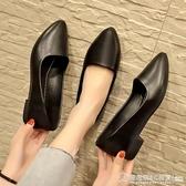 女鞋2019新款春季工作鞋女黑色平底上班皮鞋百搭韓版單鞋子女  圖拉斯3C百貨