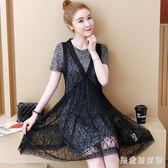 大碼女裝網紗裙套裝胖mm2019夏裝新款T恤 蕾絲背心裙兩件套連衣裙 QG24299『樂愛居家館』