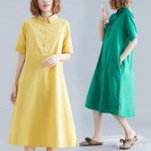 五分袖Polo領襯衫洋裝女夏季2019新款寬鬆大碼時尚休閒中長連身裙JA6727『科炫3c』