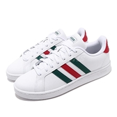 adidas 休閒鞋 Grand Court 白 綠 紅 男鞋 運動鞋 皮革鞋面 【ACS】 FW5906