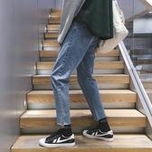 ins超火的牛仔褲男士修身bf風寬鬆褲子九分小腳褲韓版修身直筒9分 KOKO時裝店