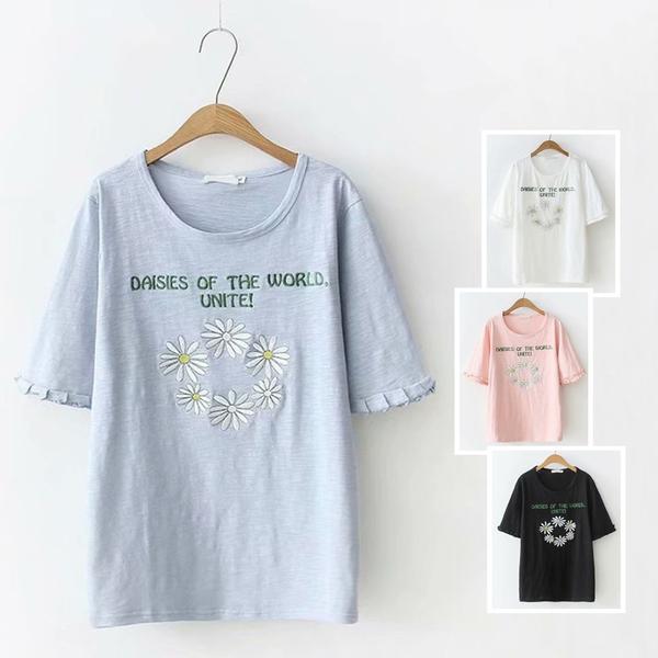 *ORead*刺繡字母寬鬆型大碼短袖T恤上衣(4色XL~3XL)