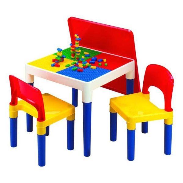 快速出貨☆ DELSUN ☆ [DELSUN 8601-2]兒童積木桌椅組 塑膠桌椅 原色 DIY 台灣製造 安檢 1桌2椅