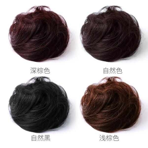 包包頭韓系真髮假髮包丸子頭假髮古裝頭飾花苞頭髮飾盤髮器自然蓬鬆捲髮圈女