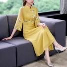 改良漢服連衣裙女2021夏季新款中國風立領刺繡過膝長裙子