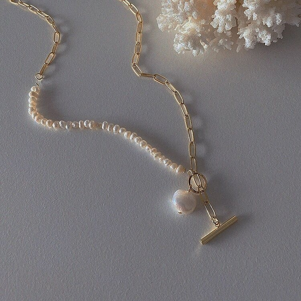 SHOOT維納斯的誕生原創復古巴洛克天然珍珠項鍊女短款鎖骨鍊 伊蘿 99免運