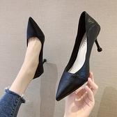 OL女高跟鞋 日常工作兩穿 春季淺口尖頭單鞋 女時尚小清新法式少女職業細跟高跟鞋女