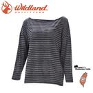 【Wildland 荒野 女 彈性緹花長袖上衣《黑》】0A71633/休閒衫/運動上衣/抗UV/隔熱涼爽/吸濕快乾