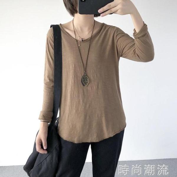 初秋新款寬鬆大碼白色V領竹節棉長袖T恤女純棉體恤上衣打底衫 時尚潮流
