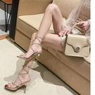 仙女風涼鞋2021年新款一字帶水鉆高跟鞋女細跟性感交叉綁帶羅馬鞋 快速出貨