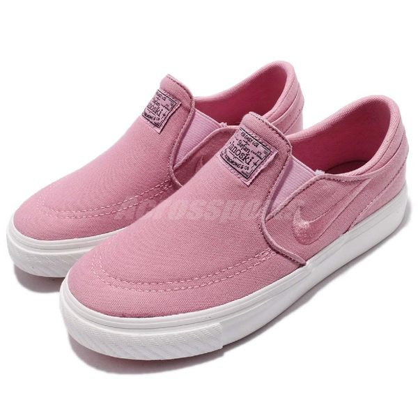 Nike 滑板鞋 SB Stefan Janoski CNVS Slip PS 粉紅 白 帆布休閒鞋 無鞋帶 童鞋 中童鞋【PUMP306】 882989-601