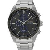 【台南 時代鐘錶 SEIKO】精工 Criteria 太陽能三眼計時腕錶 SSC725P1@V176-0AZ0D 黑/銀 44mm