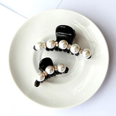 珍珠水鑽感黑色抓夾 髮飾 珍珠髮夾 抓夾 造型頭飾
