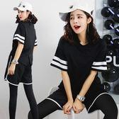 健身房跑步運動套裝女韓國寬鬆性感短袖瑜伽服春夏健身服女潮