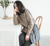 帆布包 韓國chic ins同款簡約百搭條紋單肩帆布包復古原宿女大容量布袋潮  蒂小屋服飾