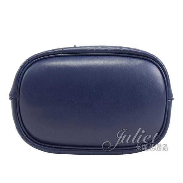 茱麗葉精品【全新現貨】PRADA 1BH038 金屬LOGO皺褶迷你兩用水桶包.深藍
