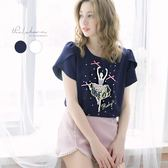 上衣 露比設計芭蕾女孩蝴蝶結短袖上衣-Ruby s 露比午茶