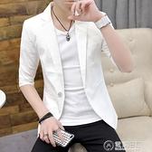 小西裝男夏季新款中袖薄款純色西服外套男士韓版潮流商務修身上衣  聖誕節免運