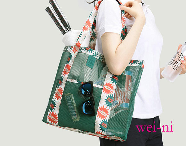wei-ni 時尚網狀WeekEight單肩包(大) 女性購物包 海灘購物袋 網格透氣袋