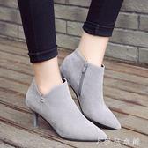 靴子 裸靴女鞋加絨尖頭高跟短靴女細跟騎士靴冬馬丁靴性感女靴 伊鞋本鋪