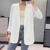 雪紡小西裝外套女2020夏季新款韓版寬鬆防曬衣中長款空調開衫薄潮 酷男精品館