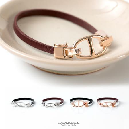 手鍊 雙D扣頭設計搭配細版質感皮革手環 女孩專屬小物 質感百搭 柒彩年代【NA382】精緻單品