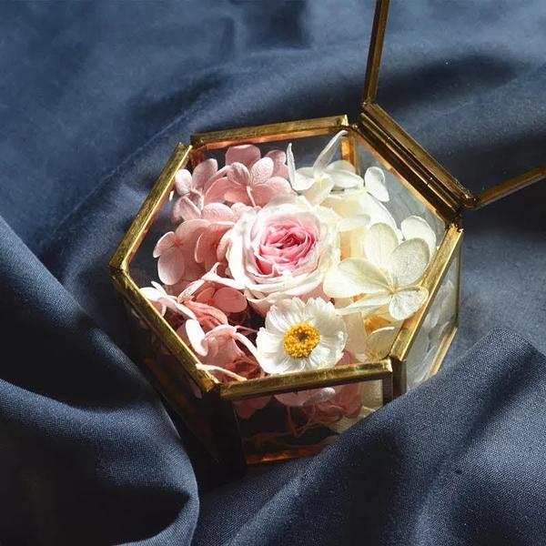 永生花DIY玻璃花房,求婚戒子盒,飾品盒,7.5*7*4cm (不包含花材)