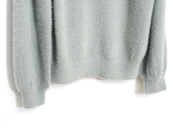 秋冬7折[H2O]單邊拼接蕾絲繡花羽毛紗長袖毛衣 - 白/粉/淺綠色 #9630012