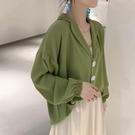燈籠袖上衣 襯衫女大碼雪紡上衣寬鬆春裝長袖t恤遮肚子設計感心機打底衫-Ballet朵朵