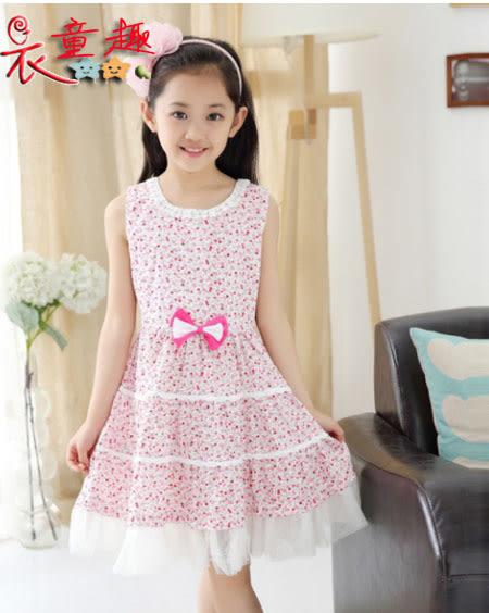 衣童趣 ♥中大女童 小碎花 無袖 連身裙 下擺紡紗 甜美可愛 外出休閒 洋裝