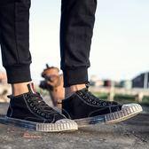 高筒帆布鞋男復古牛仔布潮鞋韓版潮流休閒板鞋男鞋子新款夏季
