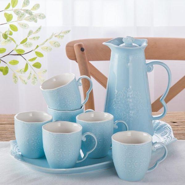 歐式陶瓷冷水壺涼水壺客廳茶壺茶具茶杯簡約水杯子水具套裝家用wy【快速出貨】