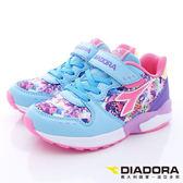 【DIADORA】義大利國寶童鞋-彩色花花流行跑鞋-4E寬楦-DA7AKC5007-粉藍紫-中大童段-0