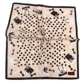 CLATHAS 愛心手提包印花純綿帕巾(粉膚色)989265-5