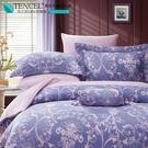 LUST生活寢具【奧地利天絲-淡淡的愛戀-藍】100%天絲、雙人5尺床包/枕套/舖棉被套組  TENCEL 萊賽爾
