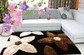 個性時尚韓國絲花朵圖案田園地毯 客廳臥室茶幾3D立體長毛厚地墊