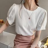 白色t桖女短袖夏季大碼寬鬆顯瘦泡泡袖純色打底上衣半袖純棉體恤