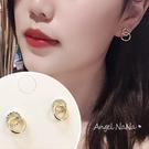 銀針耳環《可改耳夾式》簡約水鑽雙圈圈防過敏S925銀針耳針 (SRA0144) AngelNaNa