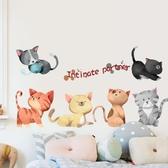 可愛貓咪墻貼大學生宿舍壁紙墻紙自粘貼畫個性臥室溫馨裝飾品貼紙wy【免運】