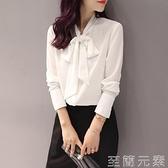 襯衣女秋裝新款洋氣蝴蝶結雪紡上衣白襯衫長袖設計感小眾潮流