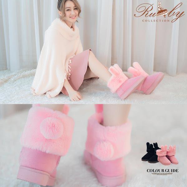 鞋子 毛毛兔耳朵保暖休閒雪靴-Ruby s 露比午茶