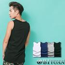 長版背心【OBIYUAN】韓版素面下擺開叉設計棉質背心 【T1051】