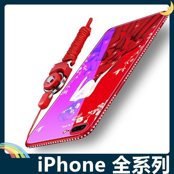 iPhone 6/6s/7/8 Plus SE 2020 藍光玻璃保護套 硬殼 愛心女神 奢華水鑽 貼鑽全包款 手機套 手機殼